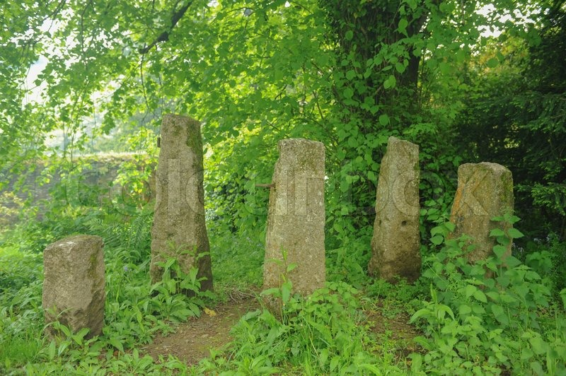Five Large Stones Placed in a Circle at Buckland Abbey Gardens and Estate , 700 Year old House, near Yelverton, Devon, England, UK, stock photo