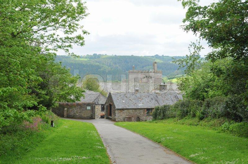 Entrance to Buckland Abbey Gardens and Estate , 700 Year old House, near Yelverton, Devon, England, UK, stock photo