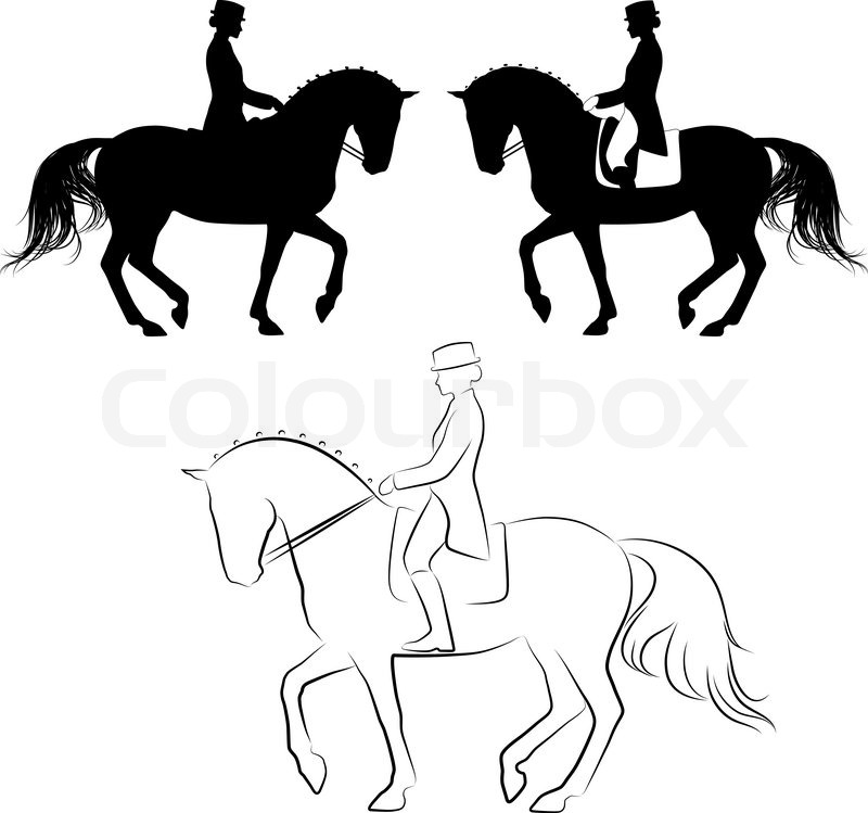 Set Of 3 Silhouettes Of Dressage Horse With Rider