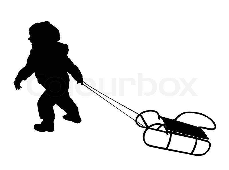 Child Pulling Sledge Silhouette Vector Stock Vector