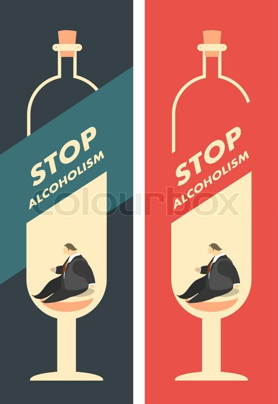 Two posters calling to stop alcohol       Stock vector