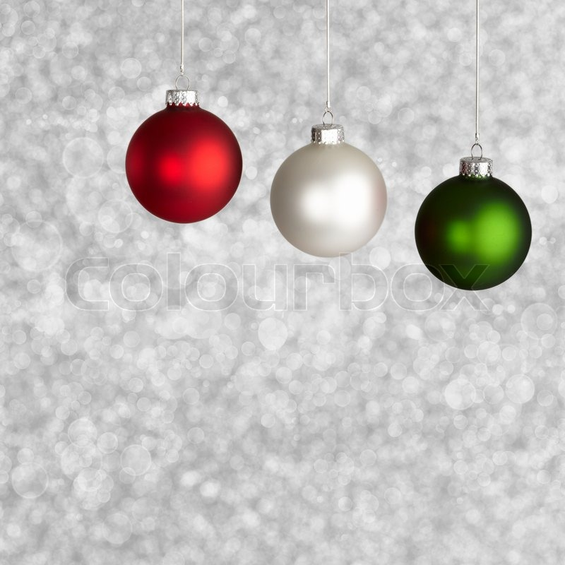 white red and green christmas ornaments on silver bokeh background stock photo colourbox - Red And Silver Christmas Ornaments