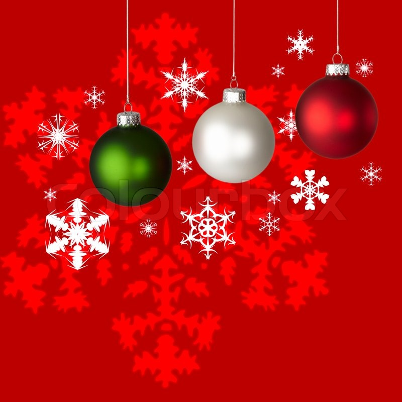 white red and green christmas ornaments on red white snowflake background stock photo colourbox - Red And Green Christmas Decorations