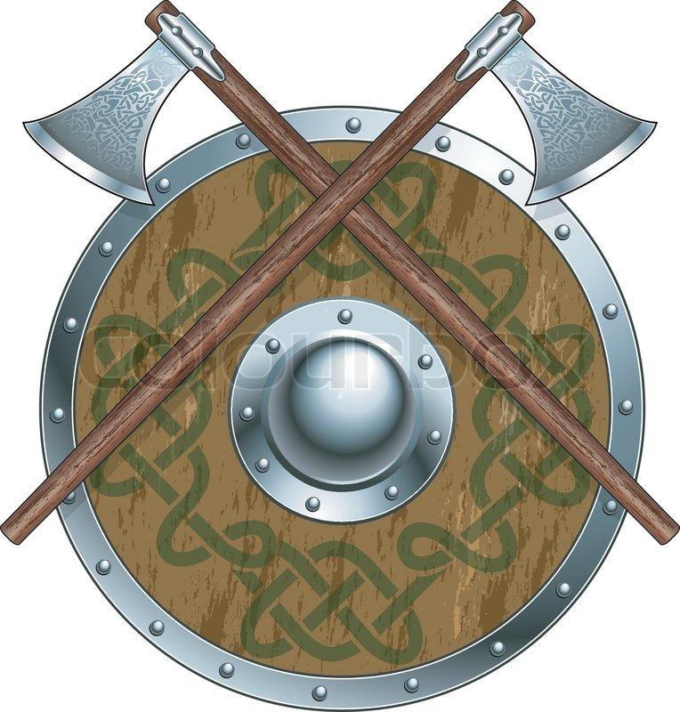 Crossed Viking Axes Wi...