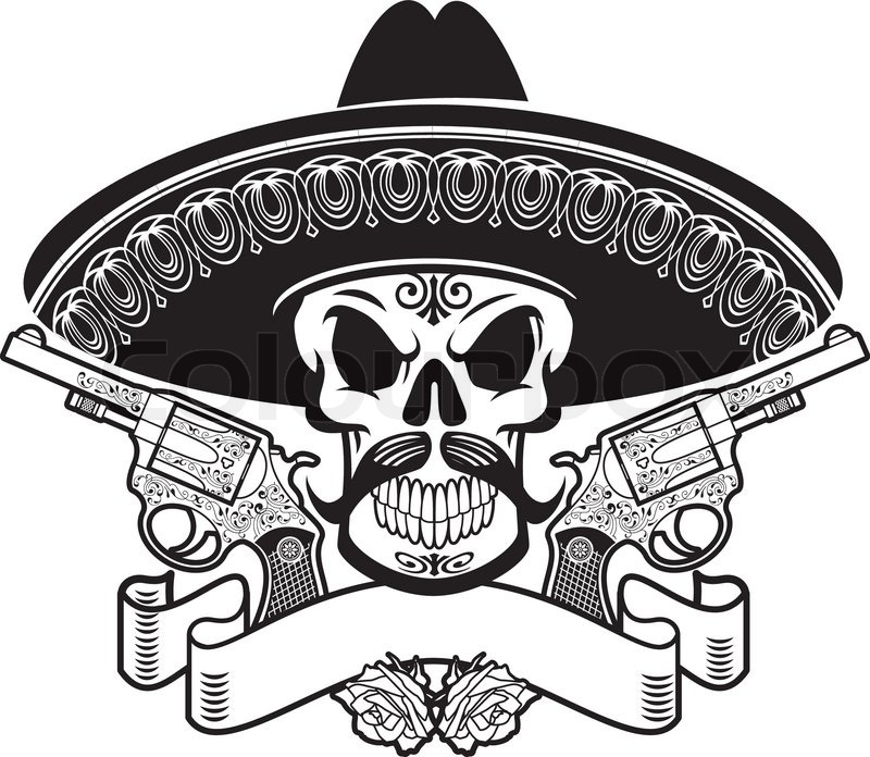 Mexican Skull With Guns Stock Vector Colourbox