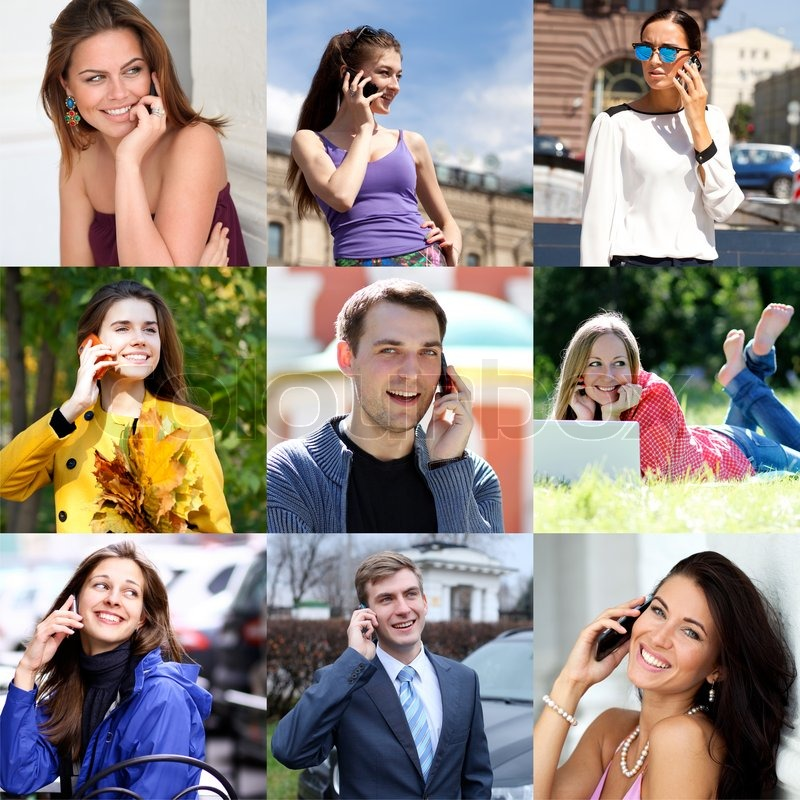 Connection concept. People with mobile phone collage, stock photo