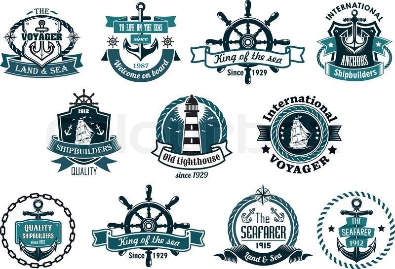 large retro set of dark blue marine labels, logo and emblems with