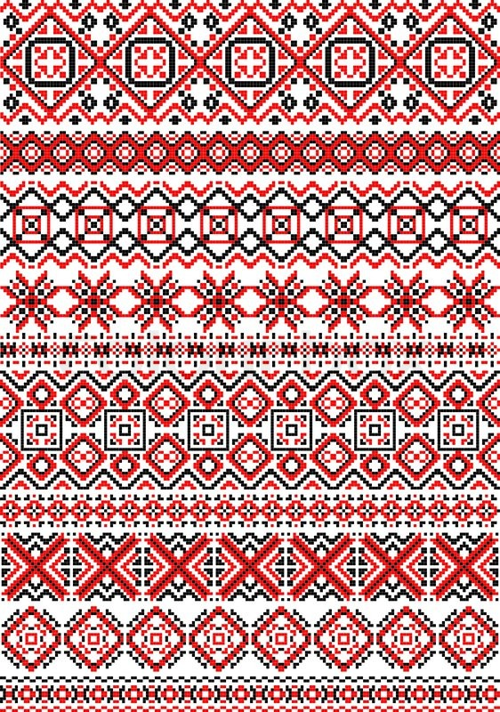 Geometric Embroidery Pattern In Folk Style With Red Black And White