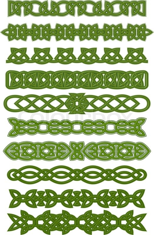 Green celtic tracery pattern for tattoo or ethnic ...