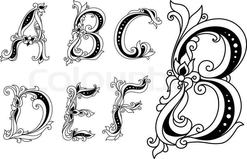 Capital Outline Floral Letters A B C D Ornate Decorated With Flowers And Leaves For Romantic Vintage Design