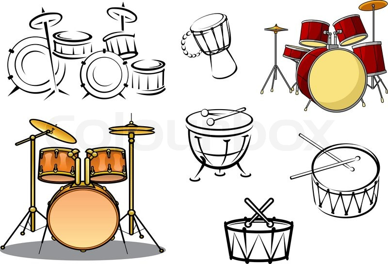 Drum Sets Timpani Snare Bass And Congas In Cartoon Sketch Style For Percussion Music Design Vector