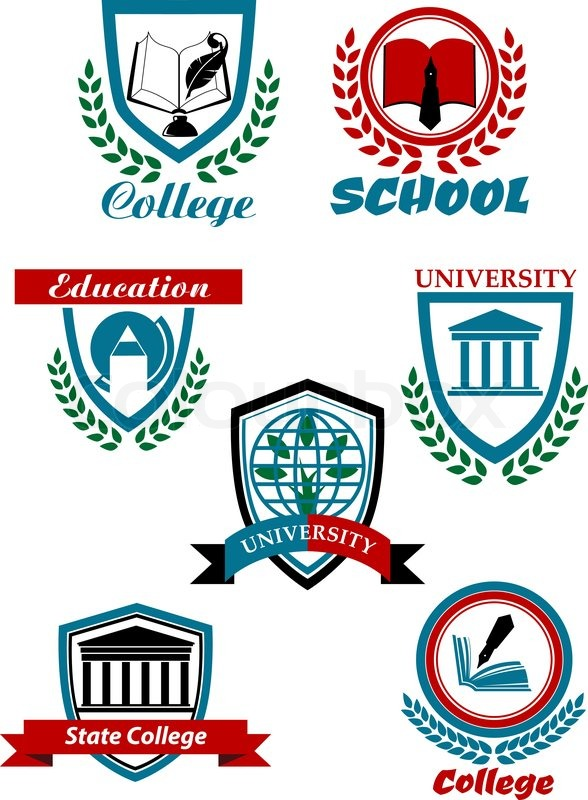 education heraldic logo emblems for school college
