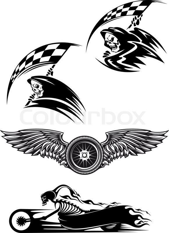 Tribal Motocross Mascot Or Tattoo Design With Skeleton On Motorcycle With Billowing Flames