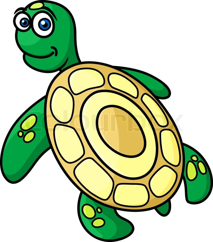 Rear view of cute green sea turtle with yellow shell in cartoon