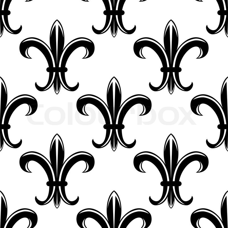 Classic Victorian Black And White Seamless Tracery Pattern With Repeated Silhouette Of Gothic Royal Lily Flower Suitable For Tapestry Upholstery Design