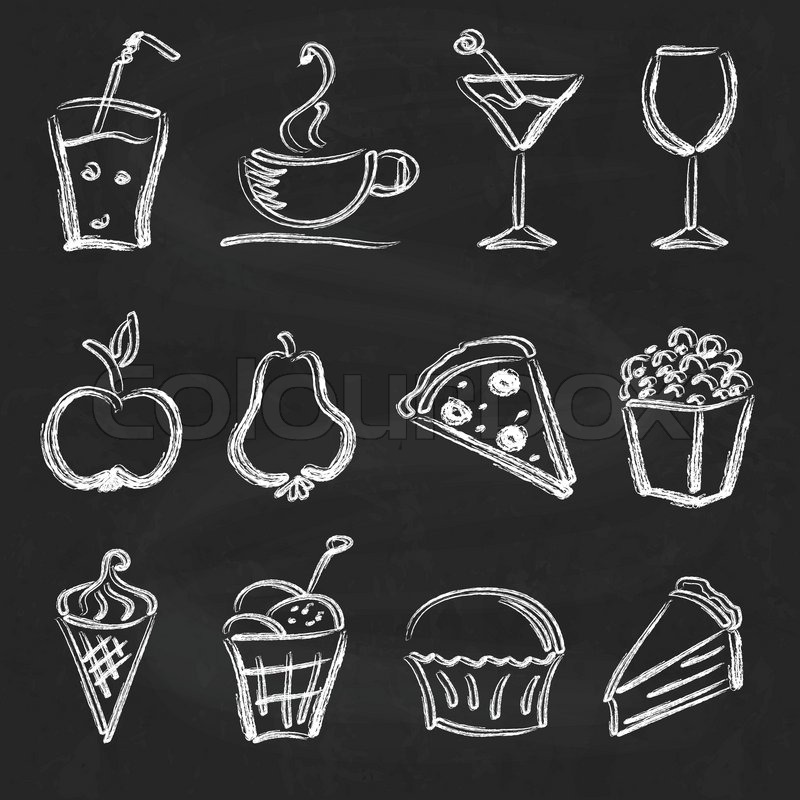 Ink style hand drawn sketch set - food, drinks, ice cream on chalkboard background, vector