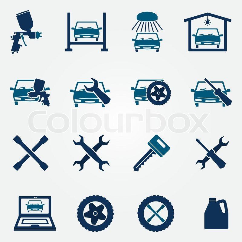 Auto Service And Repair Flat Icon Set Stock Vector Colourbox