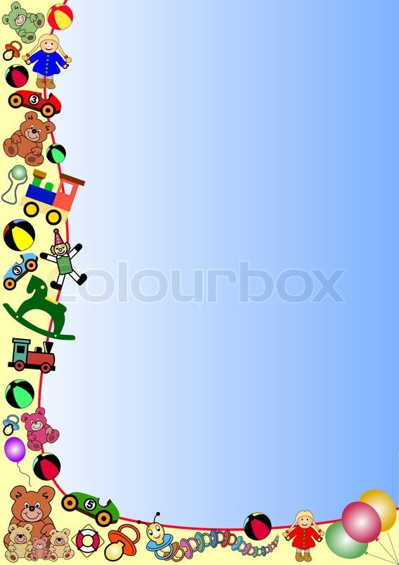 Christmas Toys Border Border With Christmas Tree And Gifts Stock