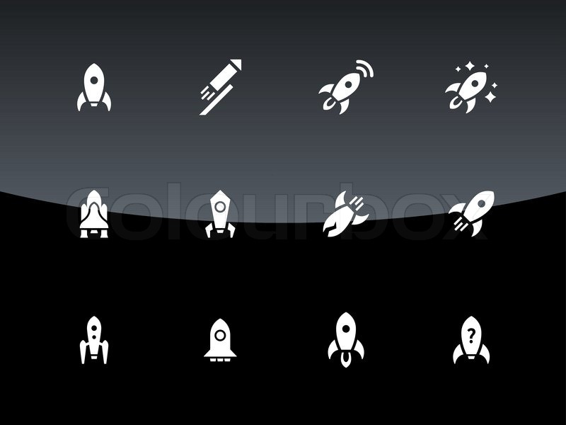Cosmos rocket icons on black background. Vector illustration, vector