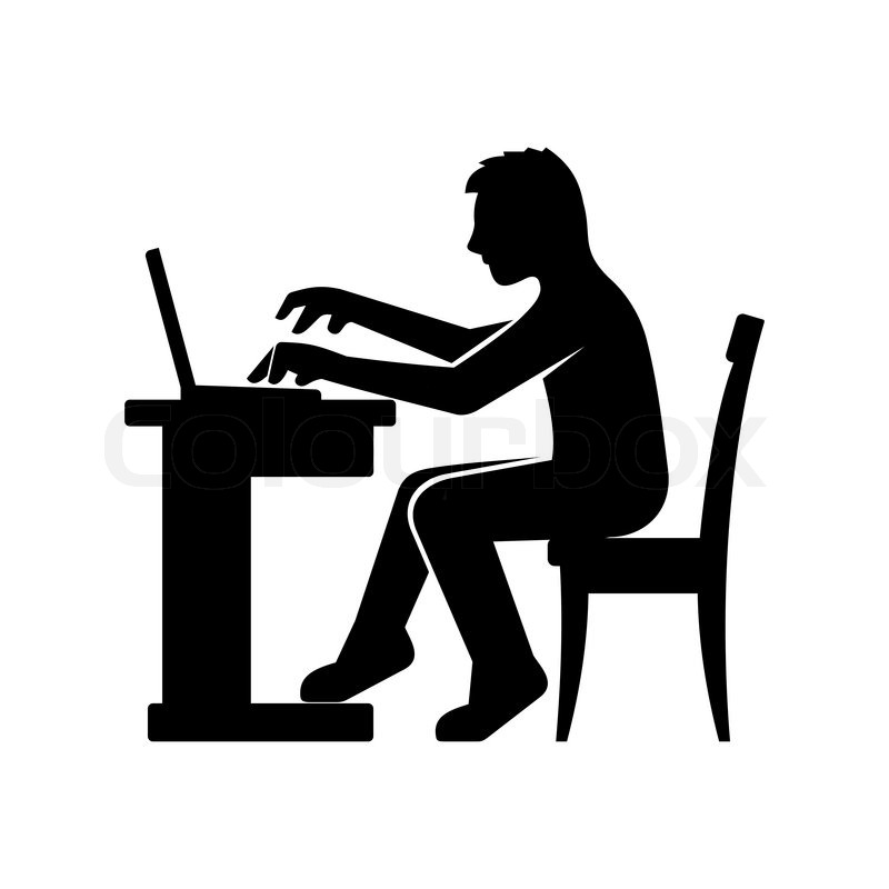 Programmer Silhouette Working on His Computer. Vector ...