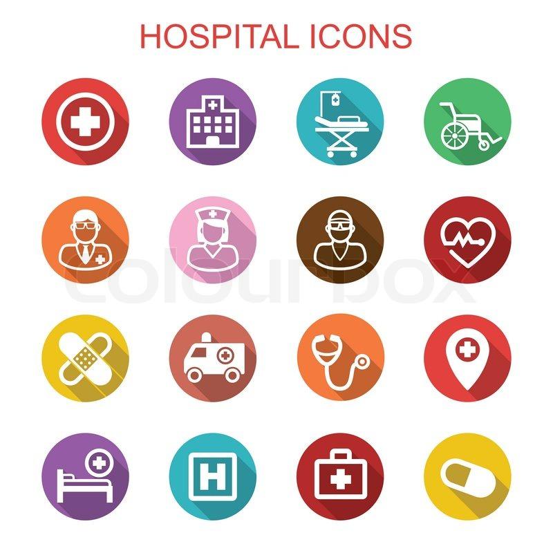 Hospital Long Shadow Icons Flat Vector Symbols Stock Vector