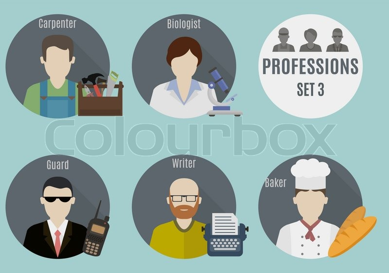 Profession people. Set 3. Flat style icons in circles, vector