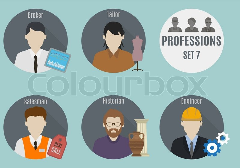 Profession people. Set 7. Flat style icons in circles, vector