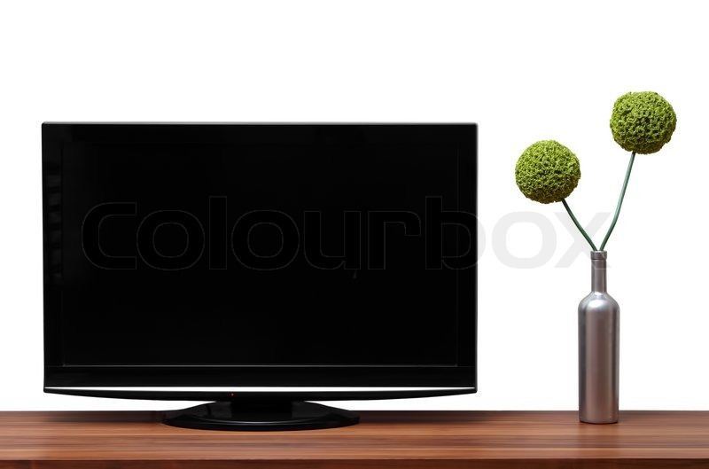 schwarz tv steht auf einem h lzernen regal stockfoto colourbox. Black Bedroom Furniture Sets. Home Design Ideas