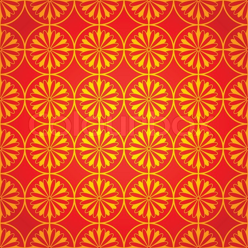 National Chinese Seamless Pattern With Chrysanthemum New Year 2015 Bright Beautiful Vector Illustration Background