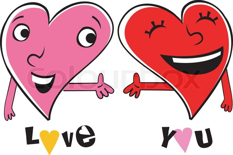 Two cartoon Hearts expressing love and friendship. Holding ...