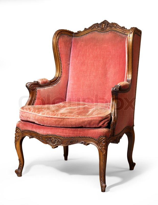 Old Antique Carved Red Upholstered Wing Arm Chair 18   19th Century | Stock  Photo | Colourbox