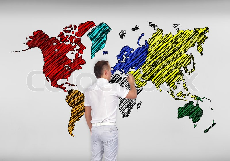 Businessman drawing world map on concrete wall stock photo colourbox businessman drawing world map on concrete wall stock photo gumiabroncs Gallery