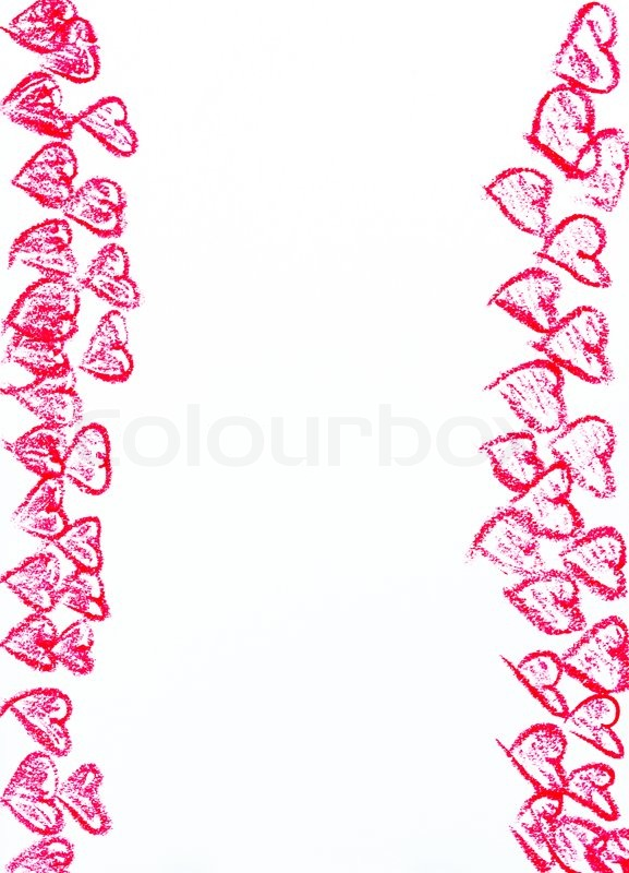 happy valentines day frame image concept with heart shapes isolated on white background copy space availablehand drawing on paper vertical shot