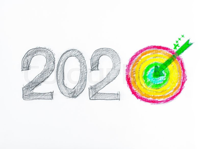 phone number conceptual image of year 2020 drawing sketch of 2020