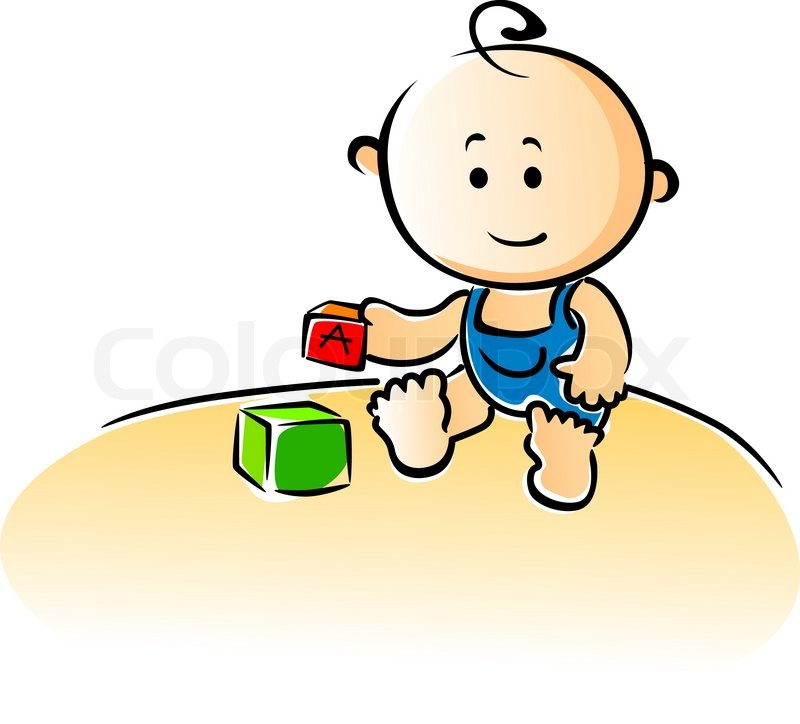 Cute cartoon baby sitting on the floor playing with ...