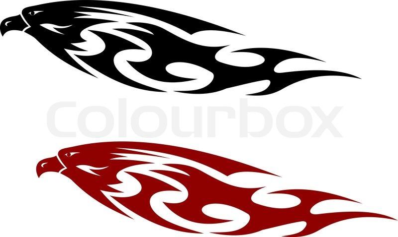 Stylized patterned predator bird with a fierce hooked beak ...
