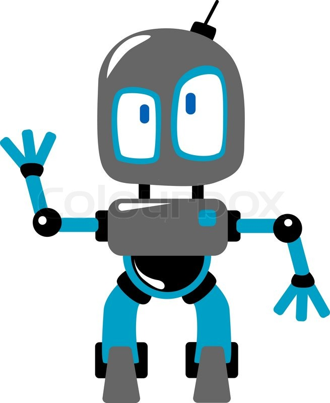 Funny Blue And Grey Cartoon Robot Or ...