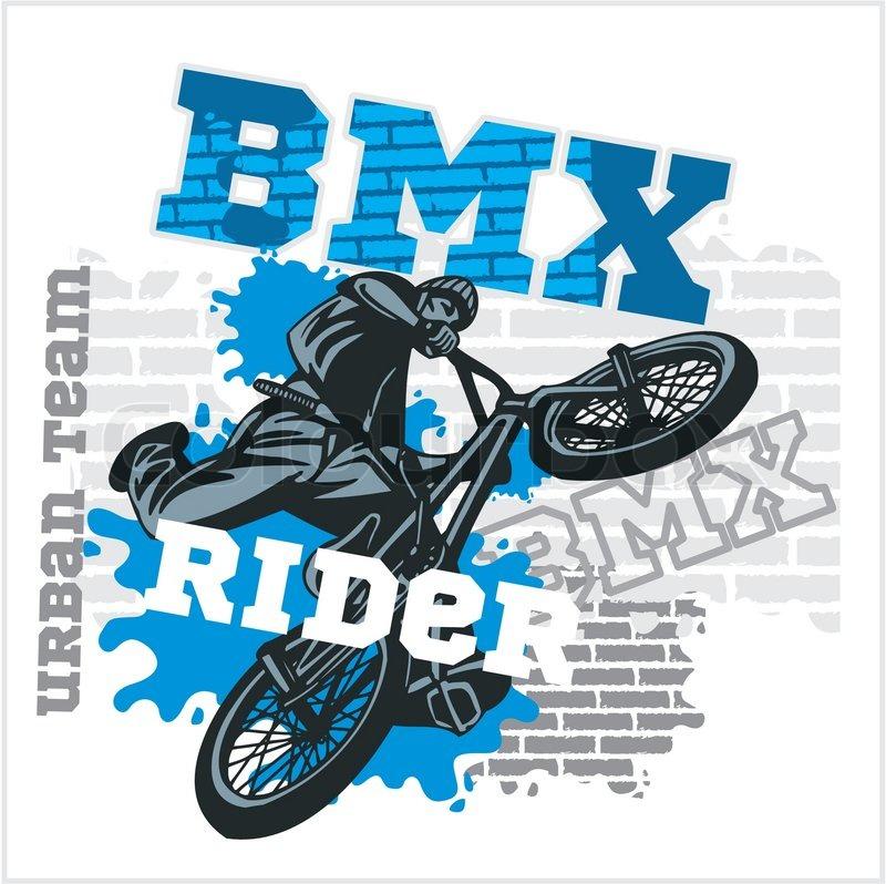 BMX rider - urban team. Freestyle bike trial. Vector illustration, vector