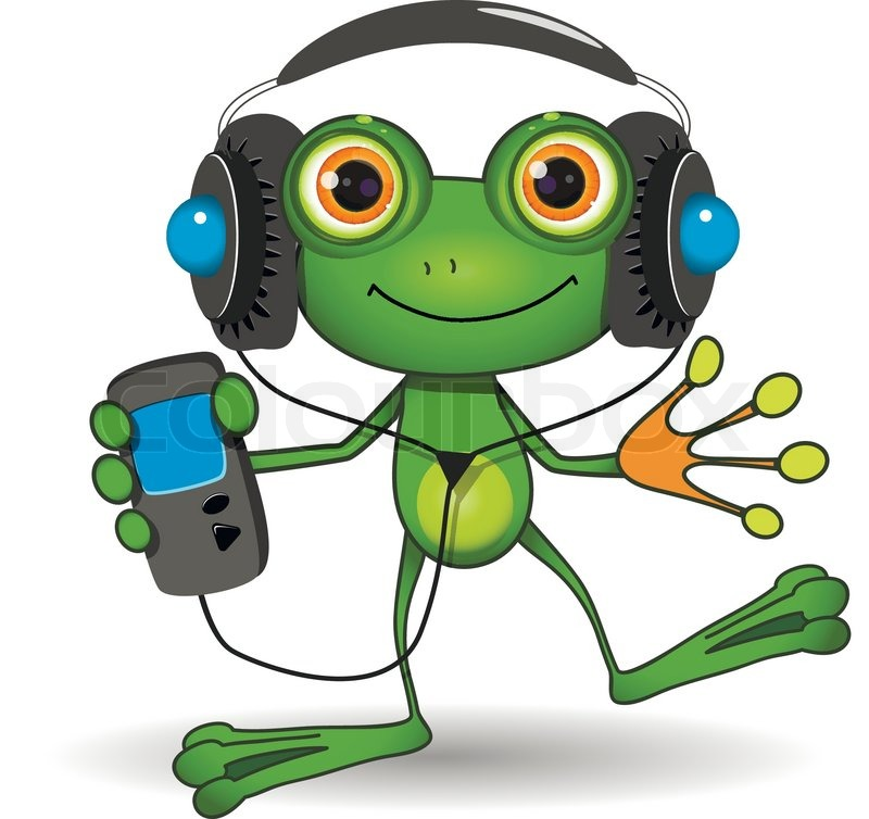 Illustration of a cartoon frog in headphones | Stock ...