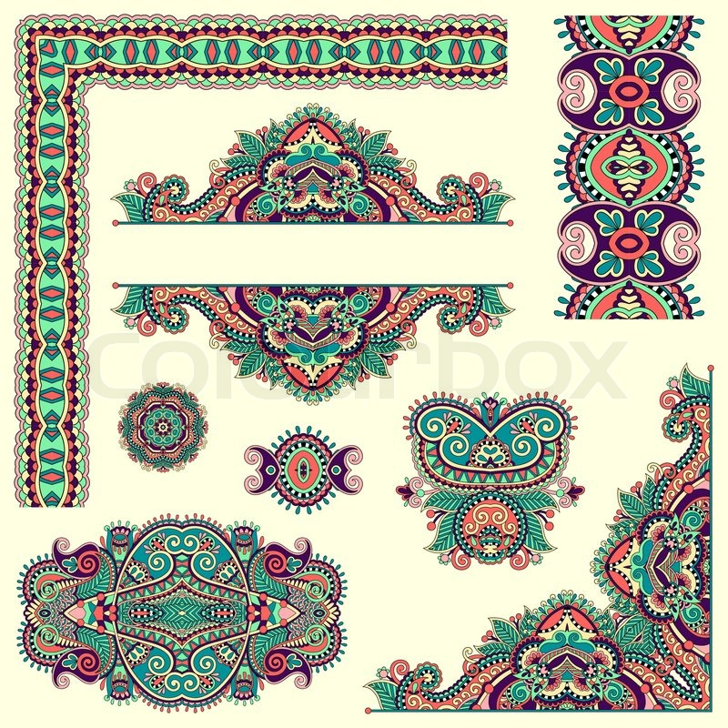 Floral Decorative Designs Set of Paisley Floral Design Elements For Page Decoration Frame Corner