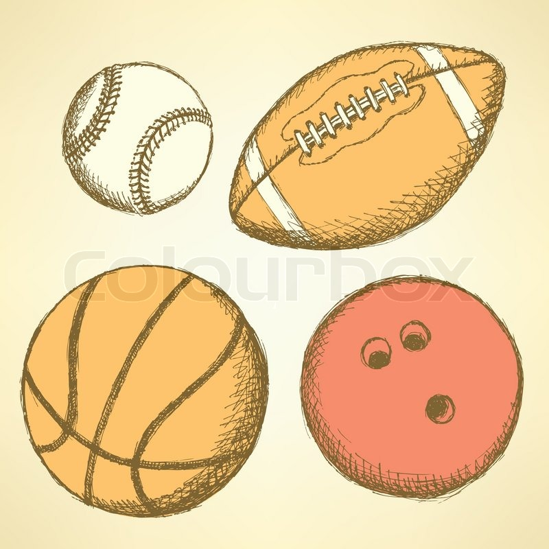Sketch Bowling Ball In Vintage Style Vector Stock