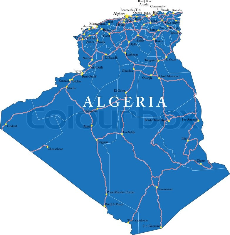 Highly detailed vector map of Algeria with administrative regions