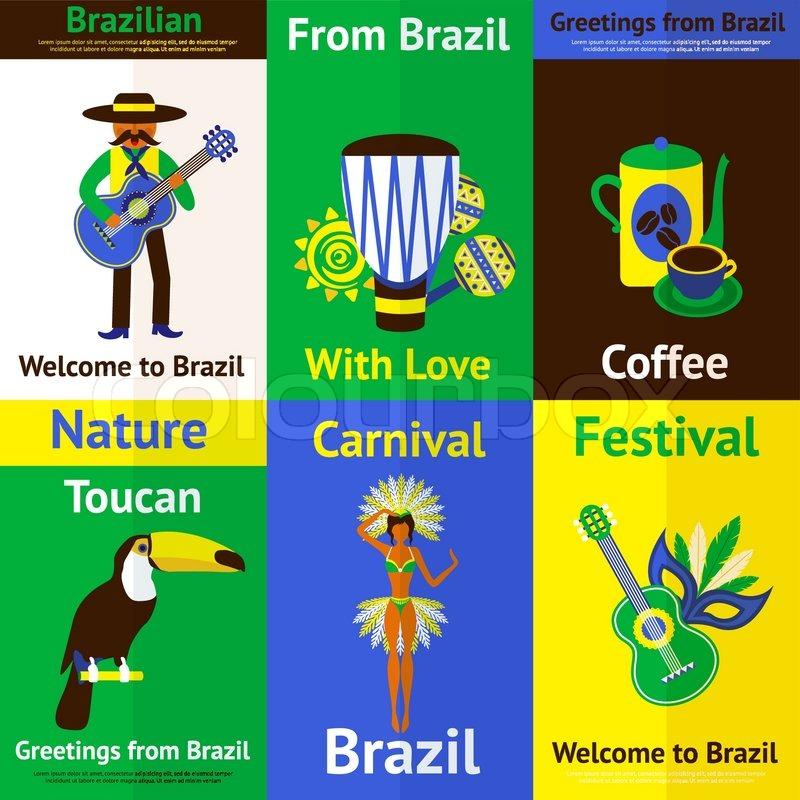 Brazil mini poster set with tourism nature music carnival symbols brazil mini poster set with tourism nature music carnival symbols isolated vector illustration stock vector colourbox m4hsunfo