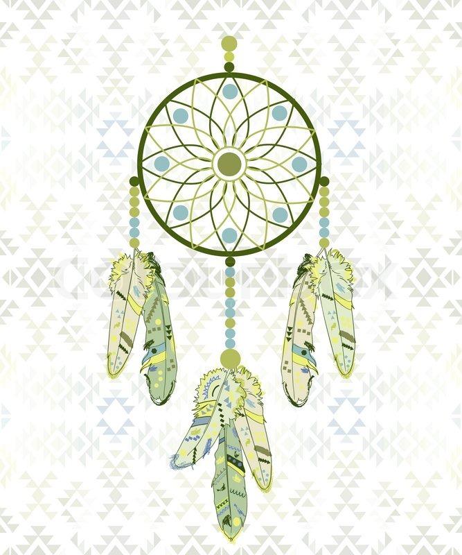 Follow Your Dream Dream Catcher On Navajo Pattern Background Extraordinary Dream Catcher Design Patterns