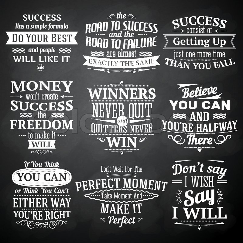 Vector Drawing Lines Quotes : Success motivational and inspirational quotes chalkboard