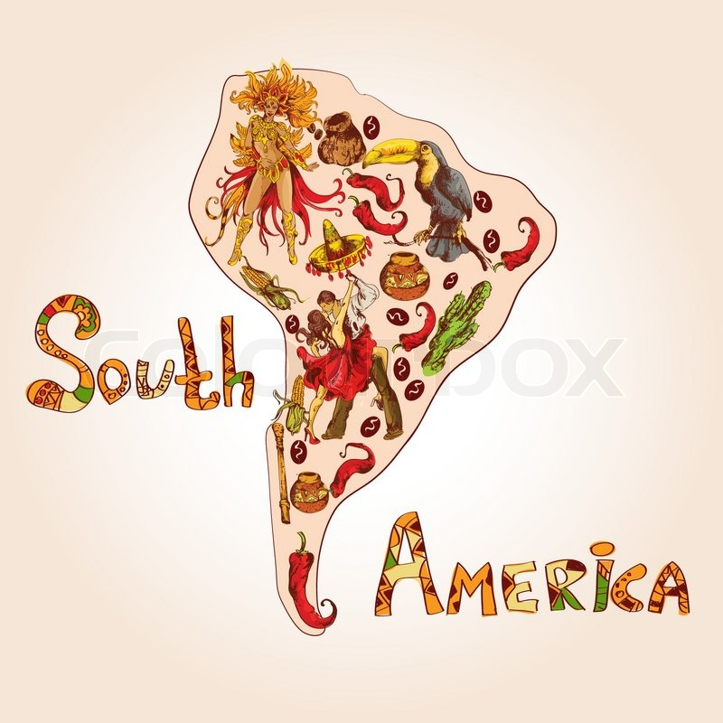 South America Colored Sketch Concept With Continent Shape And Travel
