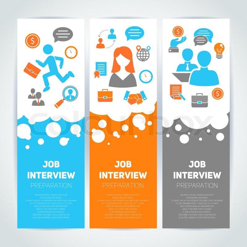 job interview preparation flat banner vertical set with
