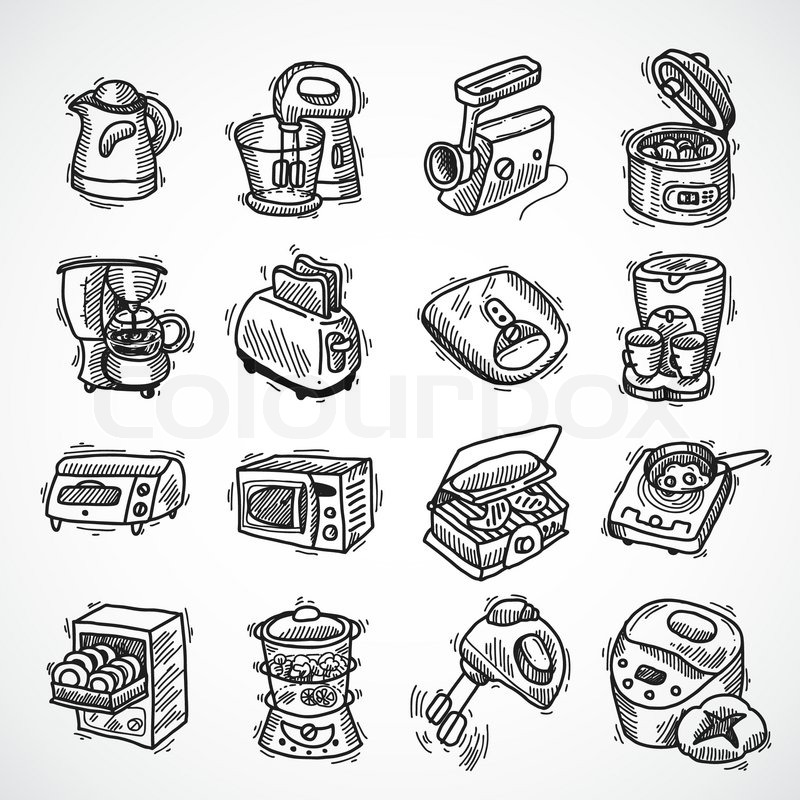 Kitchen Appliance Drawings ~ Kitchen equipment and appliances sketch decorative icons