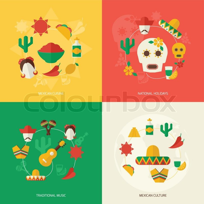 Mexico Travel Symbols Flat Icon Set With Mexican Cuisine National