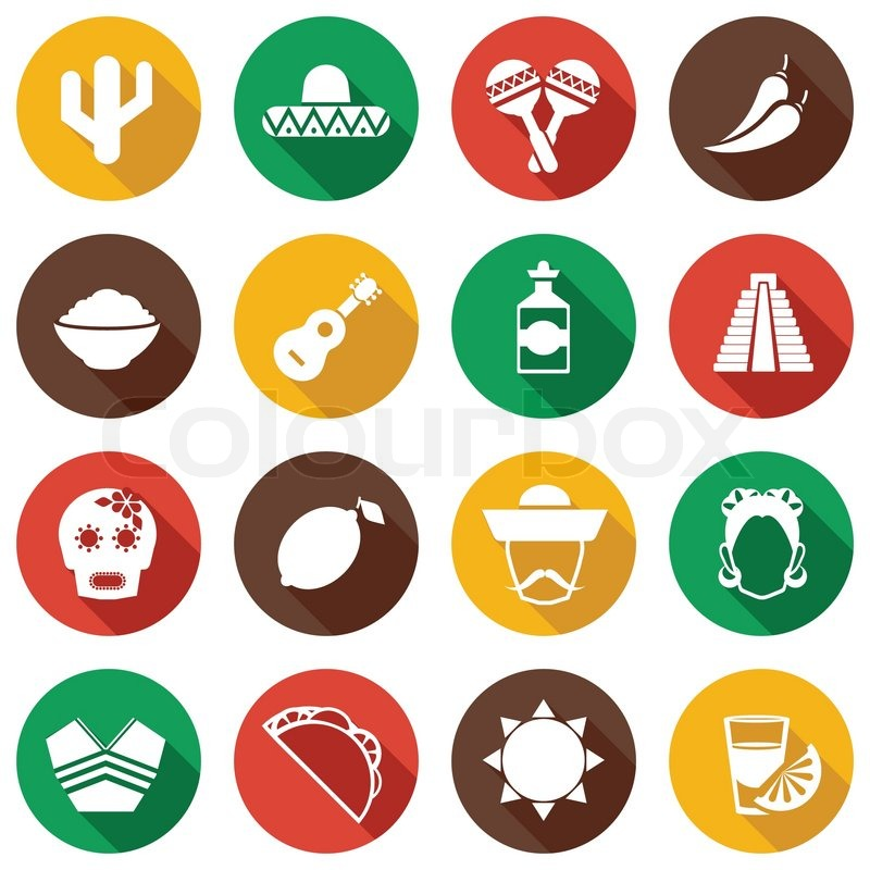 Mexico Travel Symbols Flat Icon Set With Poncho Taco Tequila And